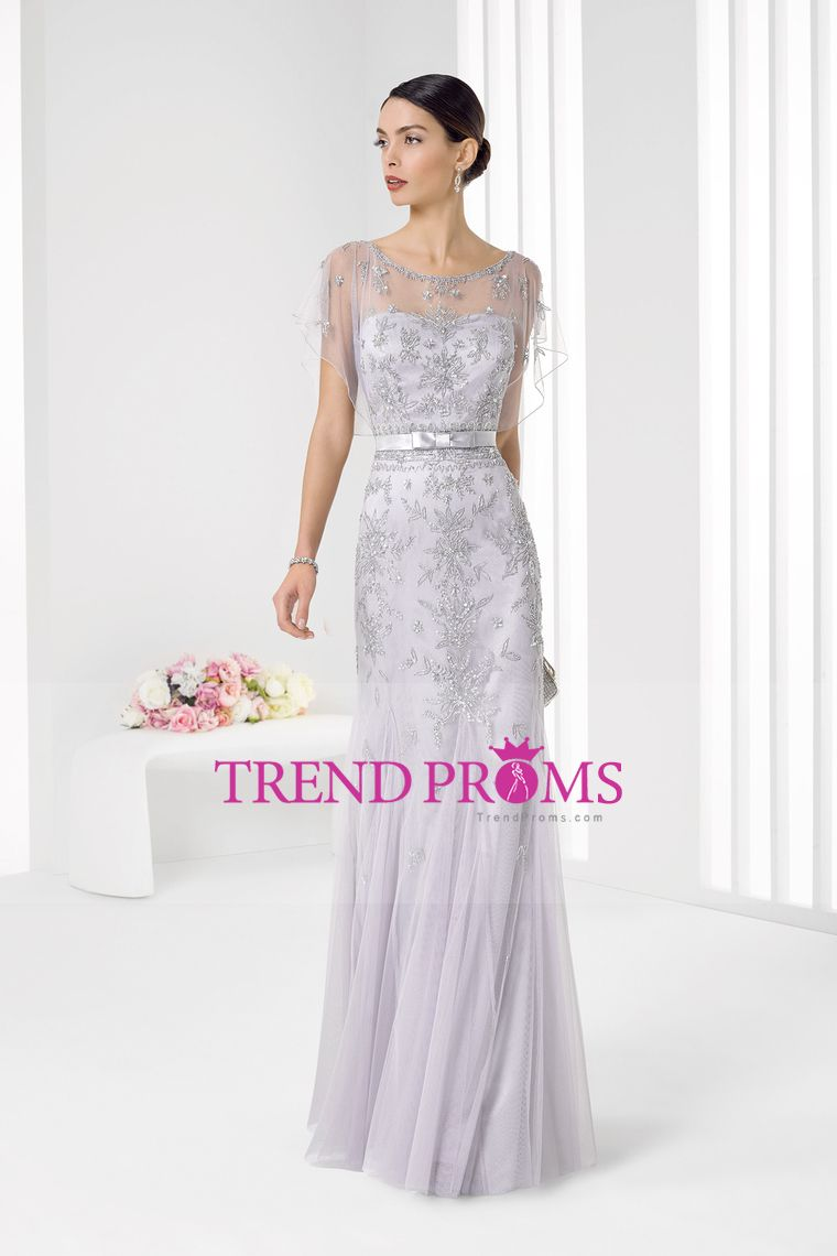 tulle scoop with beading and sash mermaid floor length prom