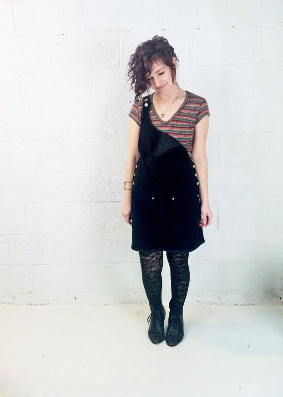 b458990c7cb VINTAGE Black Velvet Jumper    Babydoll Overalls Dress