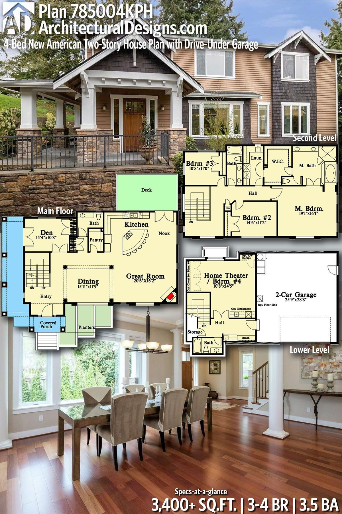 Plan 785004kph 4 Bed New American Two Story House Plan With Drive Under Garage House Plans Two Story House Plans Story House