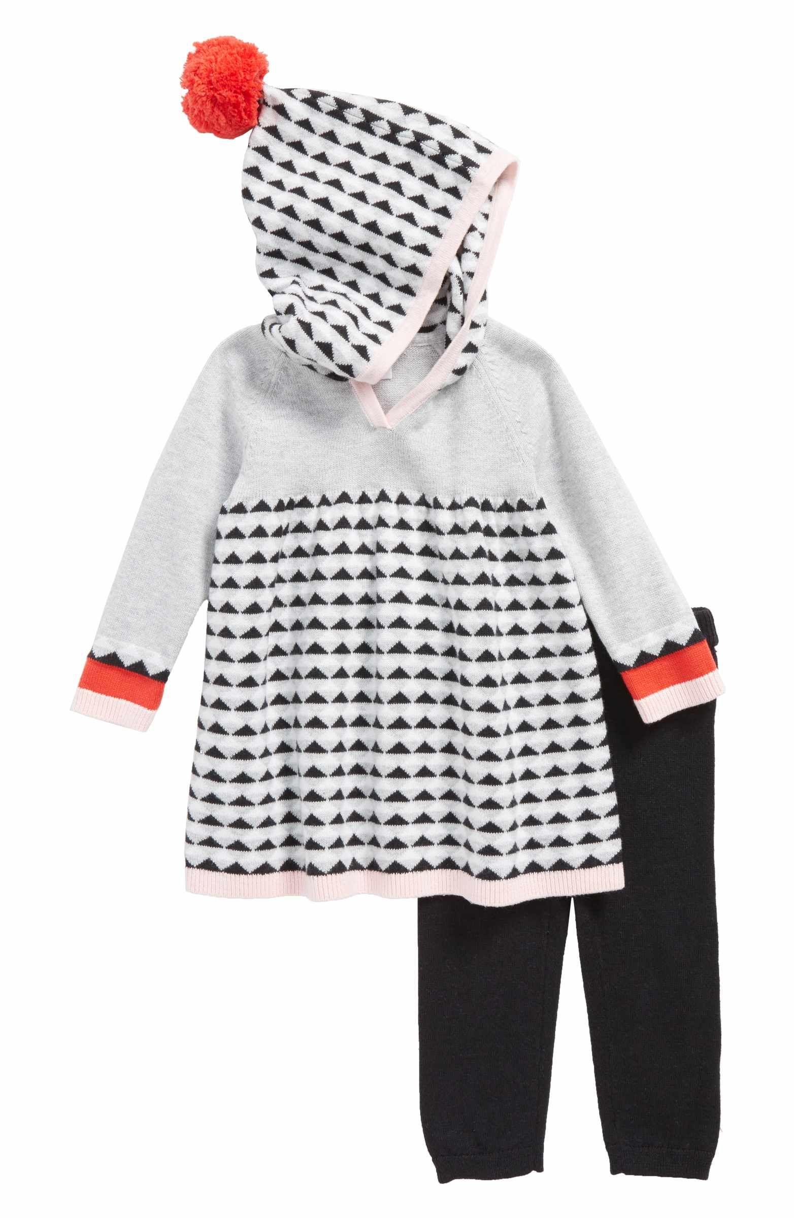 Main Image Nordstrom Baby Hooded Sweater Dress & Leggings Set