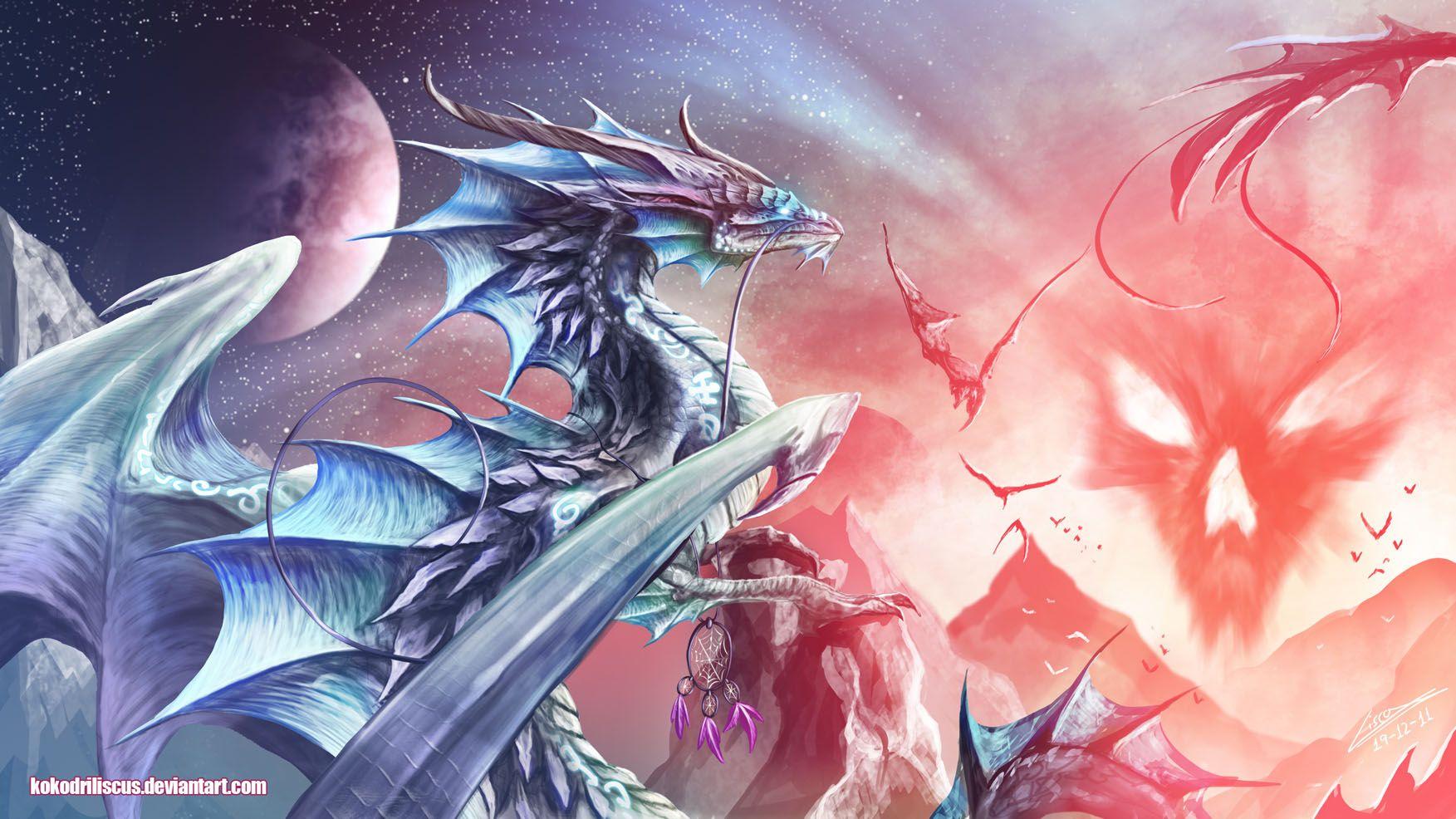 Красивые картинки драконы аниме