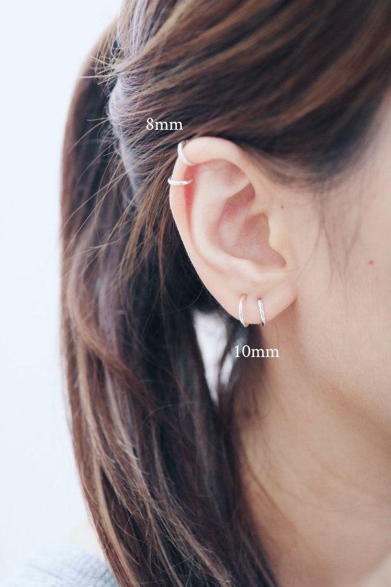 8mm   10mm Hoop Earrings Cartilage Hoop by happylittledainty ... 56eca483c38d