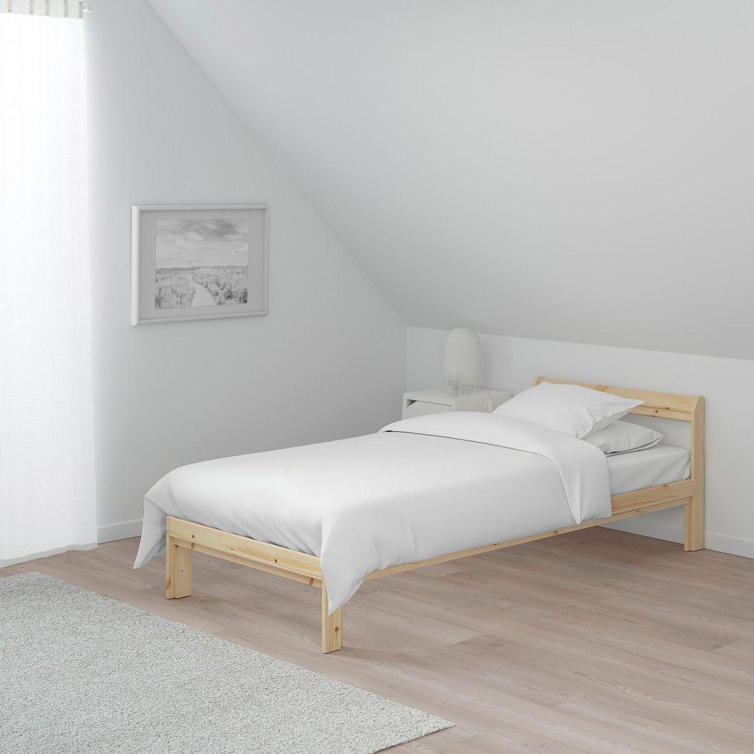 Neiden Bed Frame Pine Birch Luroy Twin Ikea In 2020 Bed Frame Single Bed Frame Pine Bed Frame