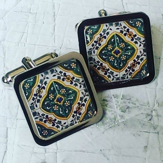 Decorative Spanish Tile Entrancing Decorative Green Floral Mexican  Spanish Tile Chrome  Cufflinks Design Inspiration