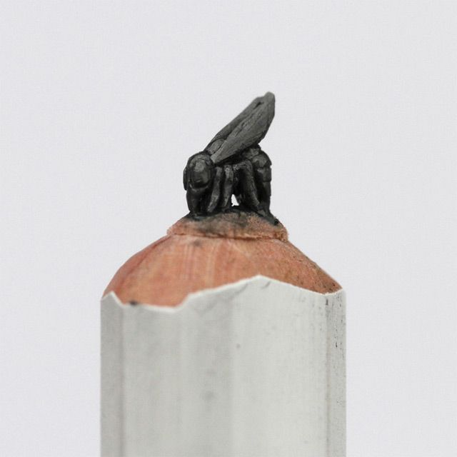 An Alphabet Of Animals Carved From Crayons And Other Miniature - 8 astonishing tiny sculptures carved on the tips of pencils