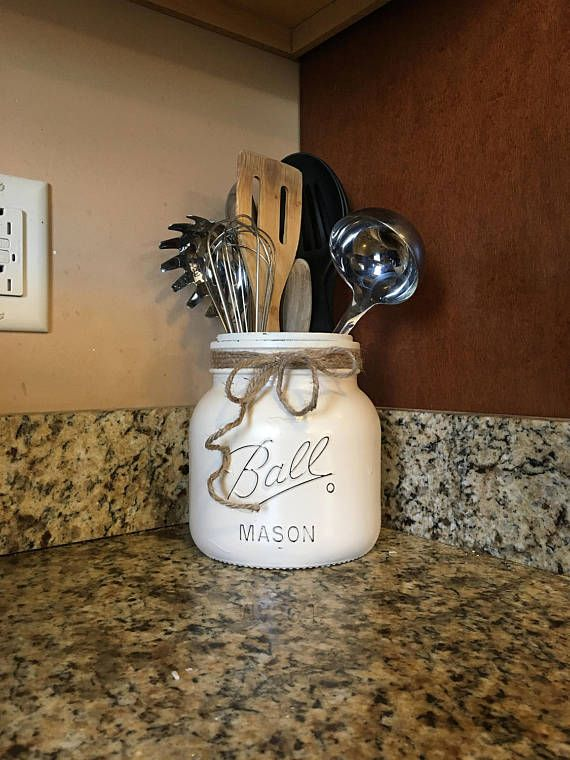 Half Gallon Utensil Holder Mason Jar Utensil Holder Kitchen
