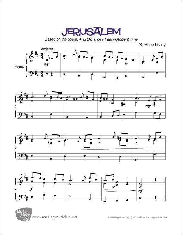 Jerusalem | Sheet Music for Piano (Digital Print) - Jerusalem ...