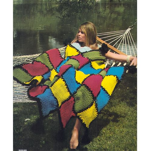 Easy Diamond Block Motif Afghan in 5 brilliant colors of your choice ...