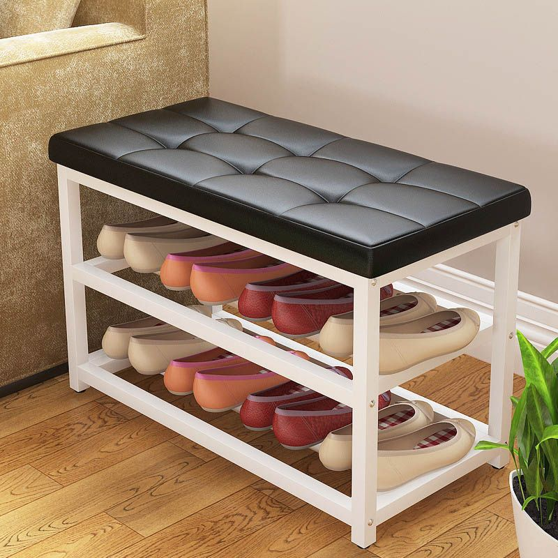 Simple Leather Cushion Shoe Bench Creative Storage Shoe Rack Entrance Double Layered Low Sto Entryway Shoe Storage Bench With Storage Outdoor Furniture Storage