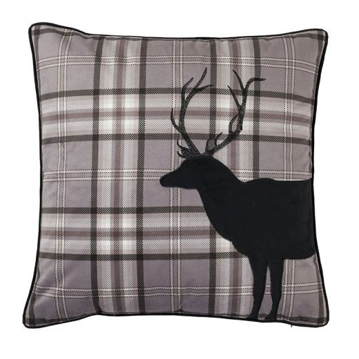 Catherine Lansfield Tartan Stag Cushion Cover In Charcoal