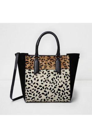 River Island Black And Leopard Print Tote Bag Leather Pony Skin Bnwt
