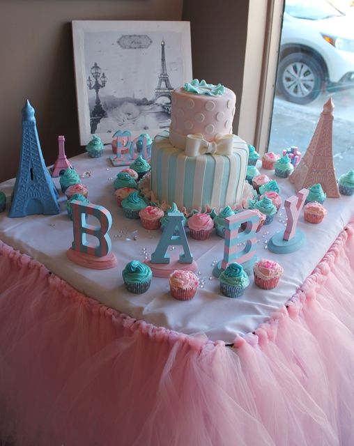 Paris Baby Shower Party Ideas Baby Shower Cake Table Cake Table Decorations Baby Shower Parisian Baby Showers