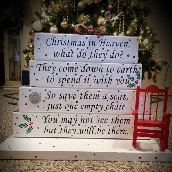 Christmas in heaven poem table top display handmade