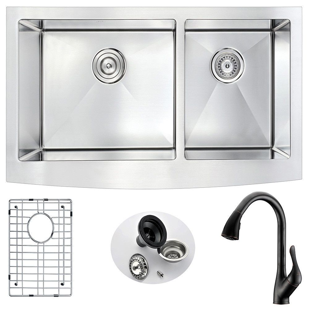 Anzzi Elysian Farmhouse Oil Rubbed Bronze Stainless Steel (Silver ...