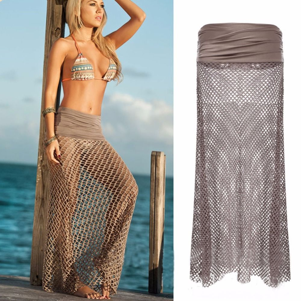 Brand new summer beachwear womens crochet fishnet long beach brand new summer beachwear womens crochet fishnet long beach skirt sexy beach wrap dress cover up bankloansurffo Images