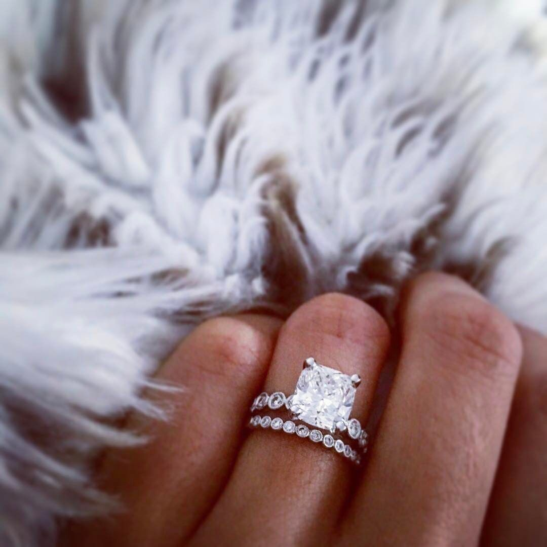 We Love The Idea Of Pairing A More Unique Band With A Classic And Big Solo Center Stone A Wedding Rings Simple Wedding Rings Unique Wedding Rings Engagement
