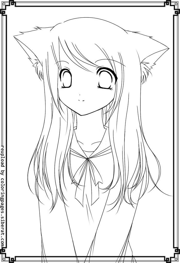Cute Anime Coloring Pages Cat Girl
