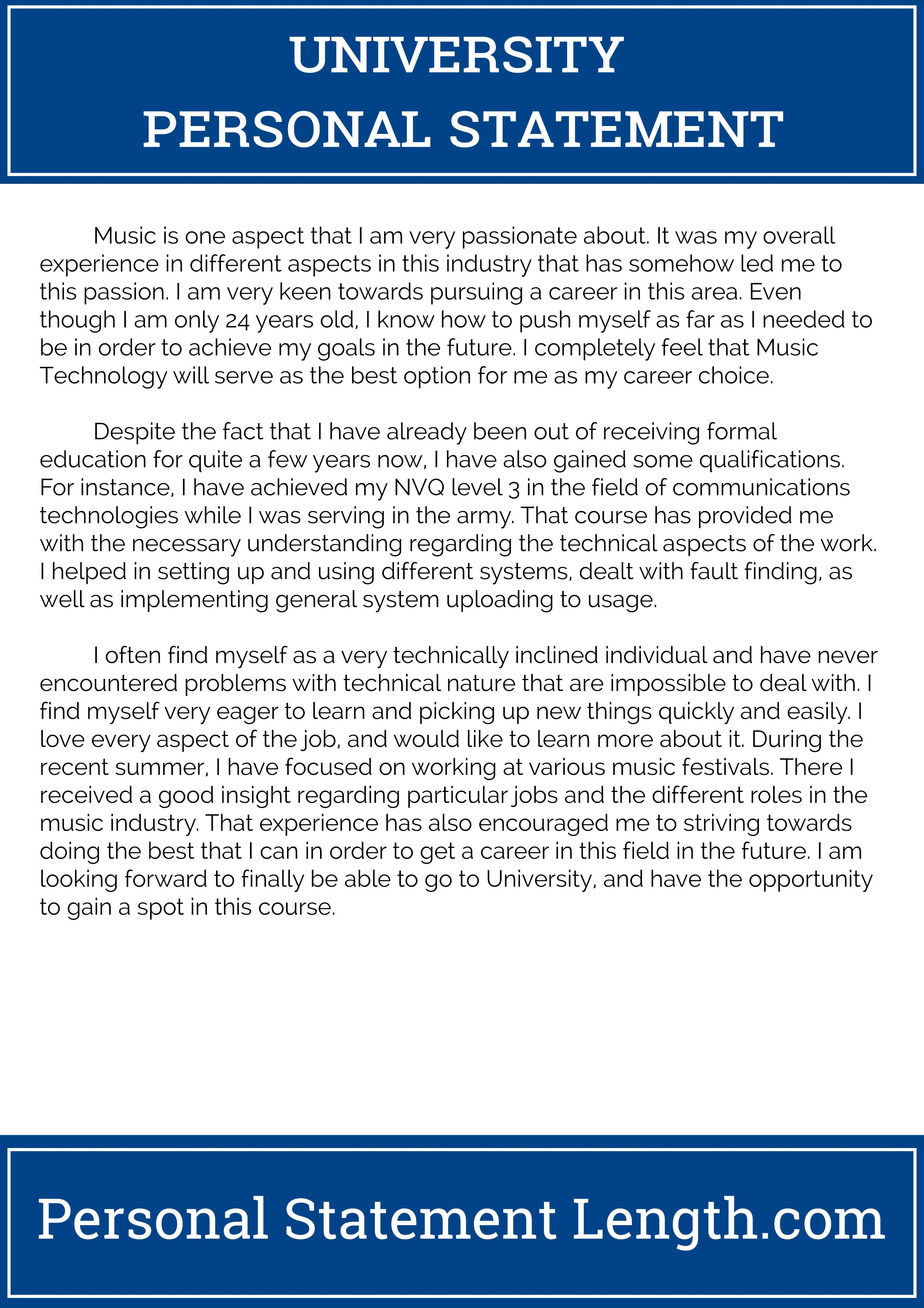 university personal statement template