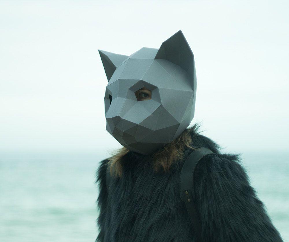 Make Cat Mask, DIY Animal Head, Instant Pdf download, Paper Mask, 3D