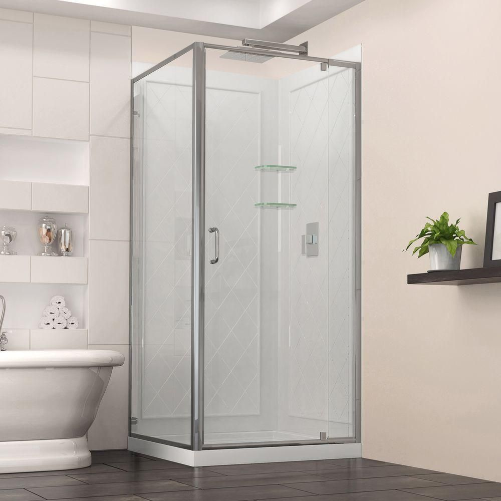 Dreamline Flex 32 In X 76 75 Corner Pivot Shower Enclosure Chrome Grey With Base And Backwalls