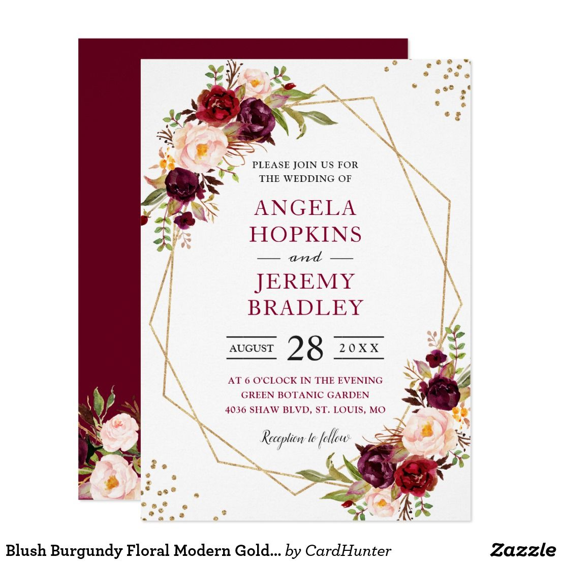 Blush Burgundy Floral Modern Gold Frame Wedding Invitation Bridal