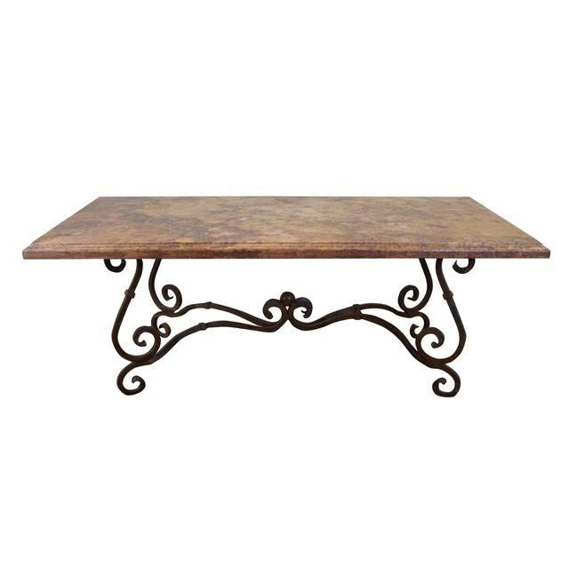 Wrought Iron Base French Marble Top Dining Table Kitchen And