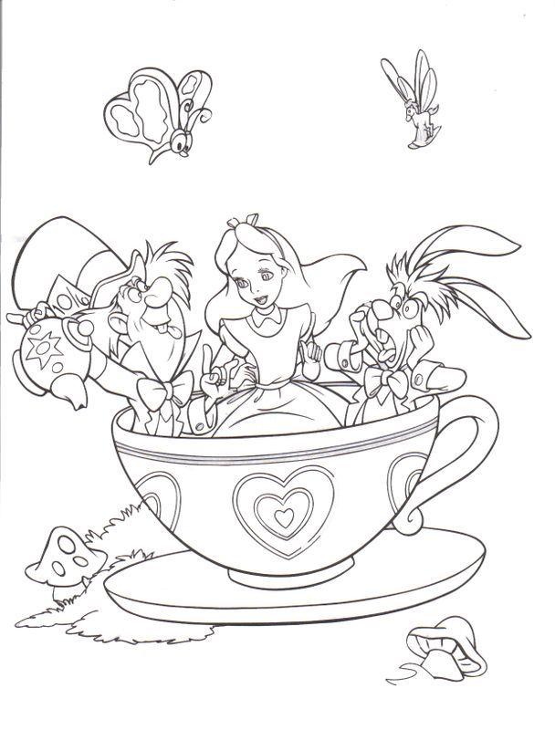 Fantasyland Mad Tea Party Alice In Wonderland Disneyland Walt Disney World Resort Magic Kingdom Color Pages Disney Coloring Pages Disney Colors C
