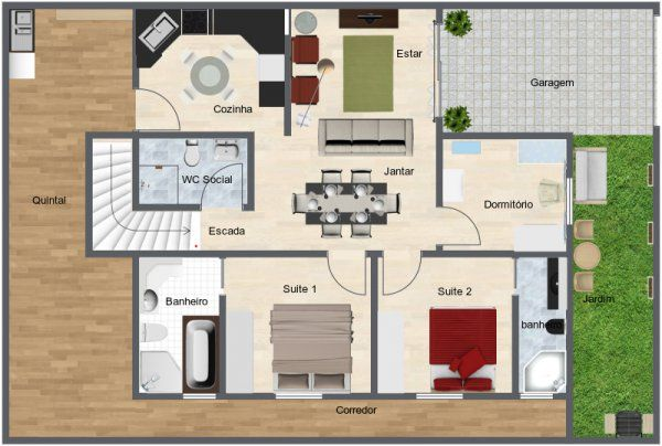 Aerial View Of A Floor Plan For A Current Multi Room House Both