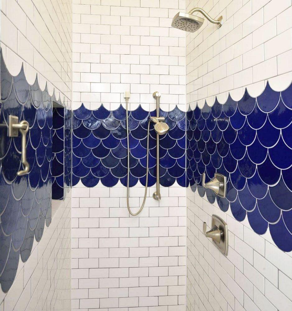 Cobalt Blue Moroccan Fish Scales Shower Shower Tile Designs Blue Bathroom Tile Fish Scale Tile