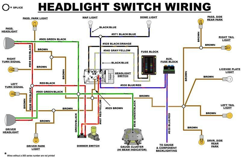 EB headlight switch wiring diagram | Early Bronco Build