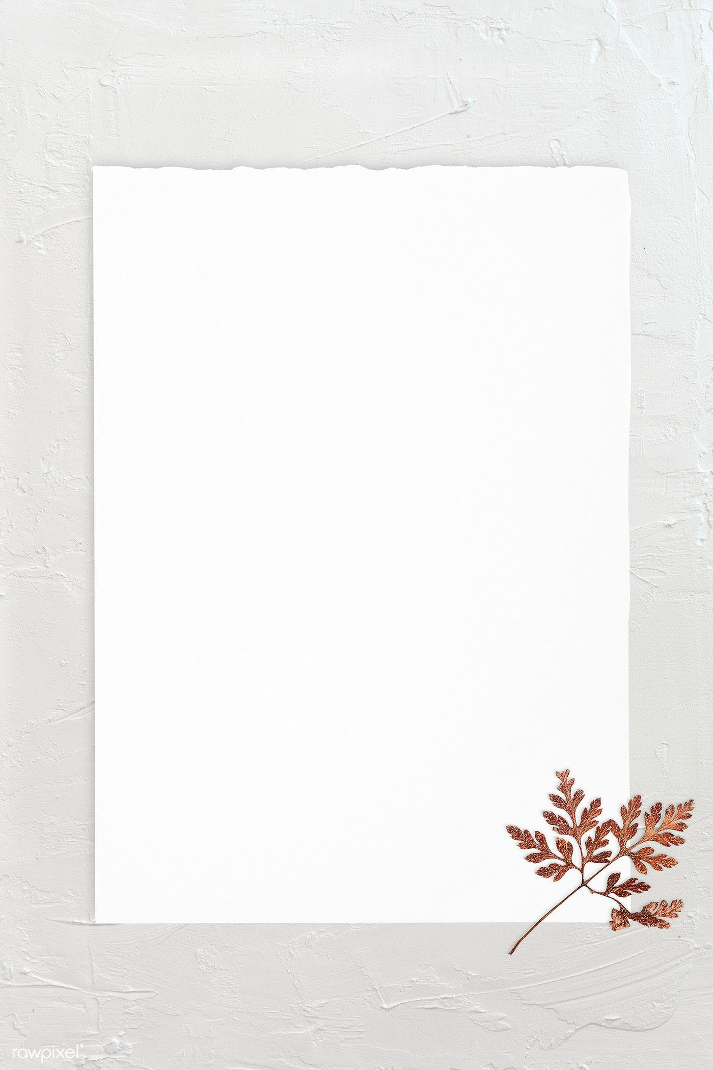 Download Premium Psd Of Blank White Paper Template With Dry Leaf 1201827 Paper Template Flower Background Wallpaper Paper Background Texture