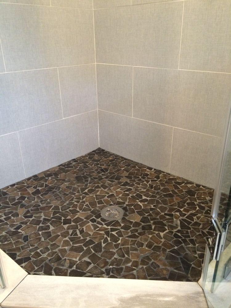 Large glazed grey stone mosaic tile shower floor | Tile It ...