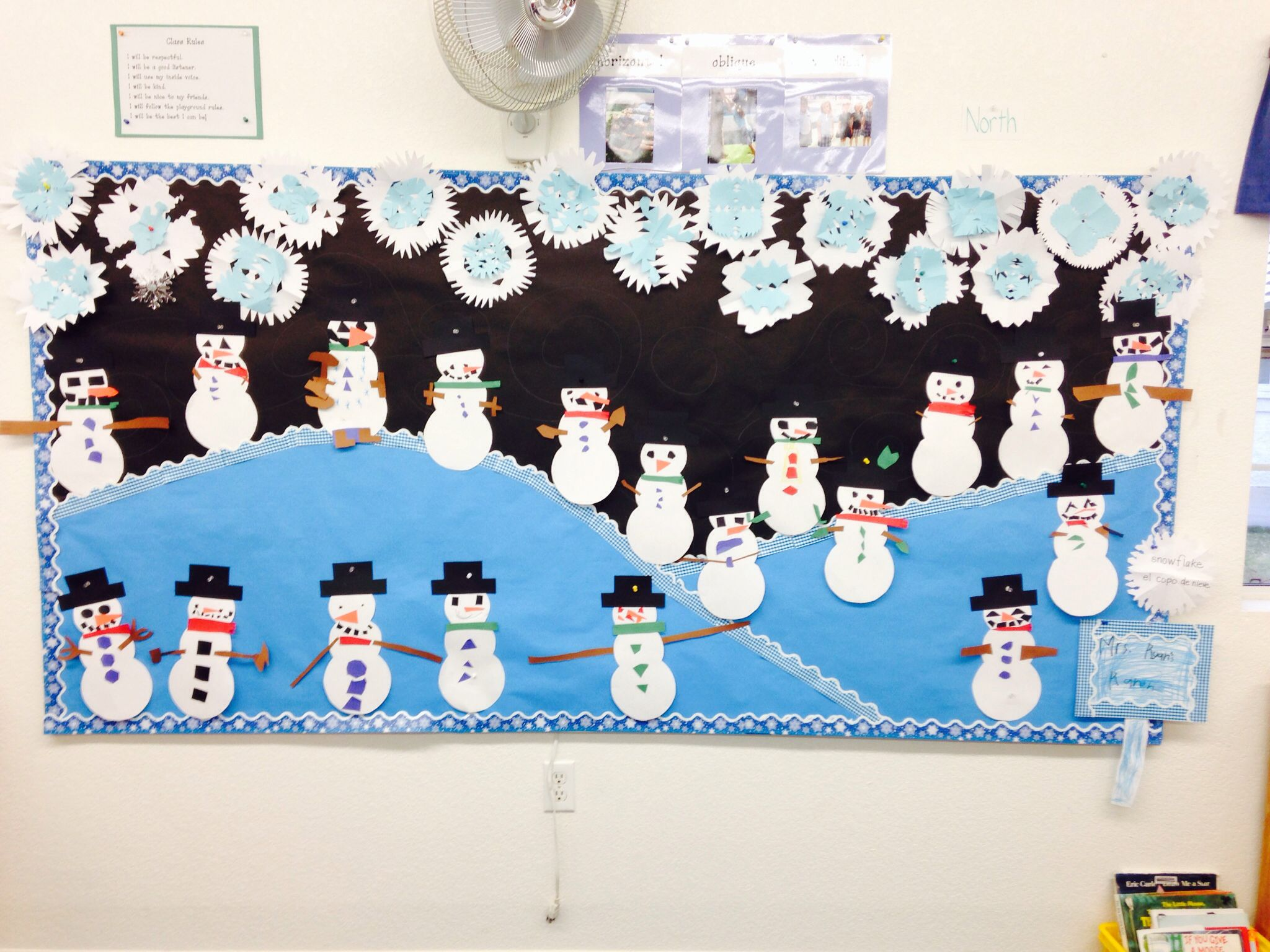 Holiday Bulletin Board First Graders Made The Snowflakes