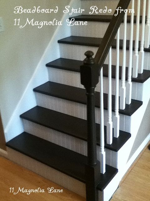 Best Stair Redo With Painted Treads And Beadboard Risers Redo 400 x 300