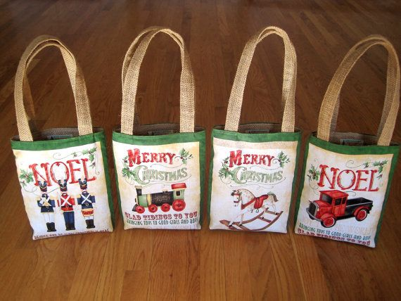 Mini Tote Bags Vintage Toy Shop Cotton, Jute Burlap NOEL Toy Soldiers Red Truck MERRY CHRISTMAS Train Rocking Horse Holly Berries - Set of 4 ~ Available on www.MaliakeiBags.com