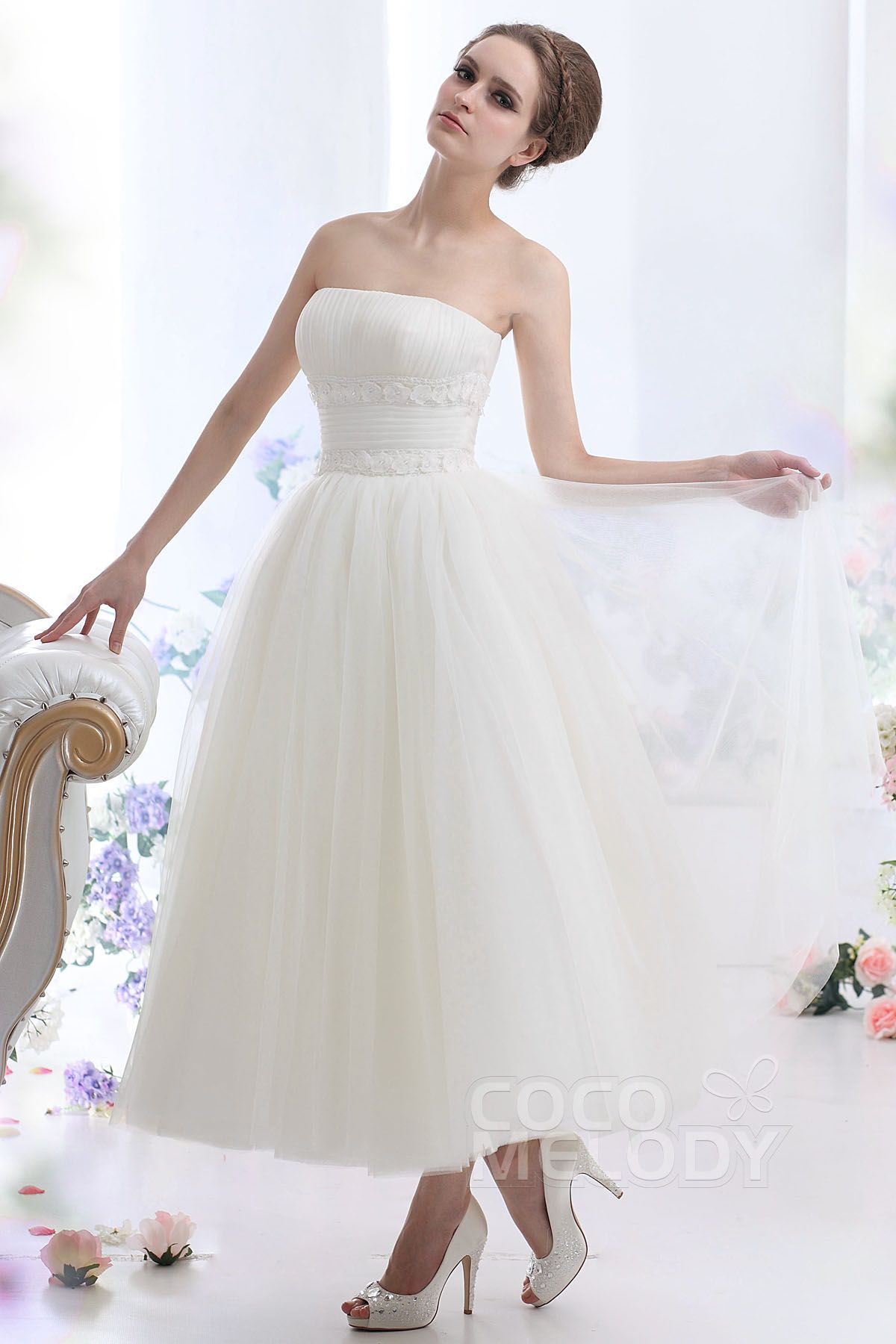 [ USD 239 ] Ball Gown Ankle Length Tulle Wedding Dress