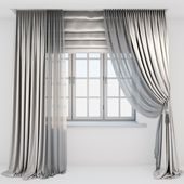 Light #beige #silk #curtains #on #the #floor #straight #and #with #a #pick-up #brush, #tulle,… Genç odası