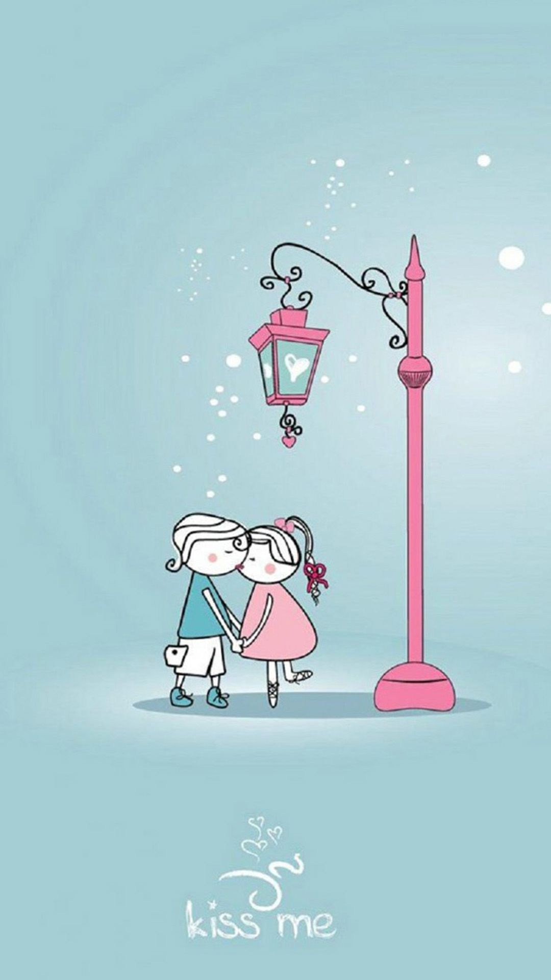 Anime Cartoon Sweet Lover Couple Kissing Winter Street Light Iphone  Wallpaper