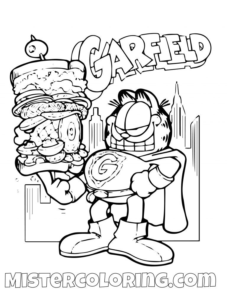 Garfield Super Hero Eating Coloring Page Cartoon Coloring Pages Super Hero Coloring Sheets Superhero Coloring Pages