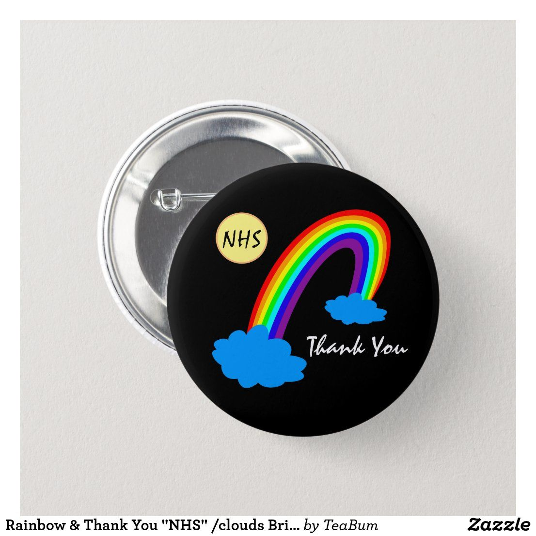 Rainbow Thank You Nhs Clouds Britain Button Zazzle Com