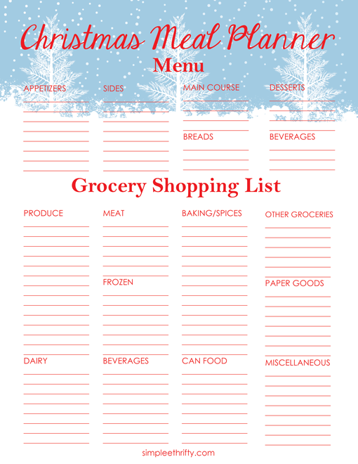 christmas meal planner printable menu and shopping list christmas food list christmas dinner shopping