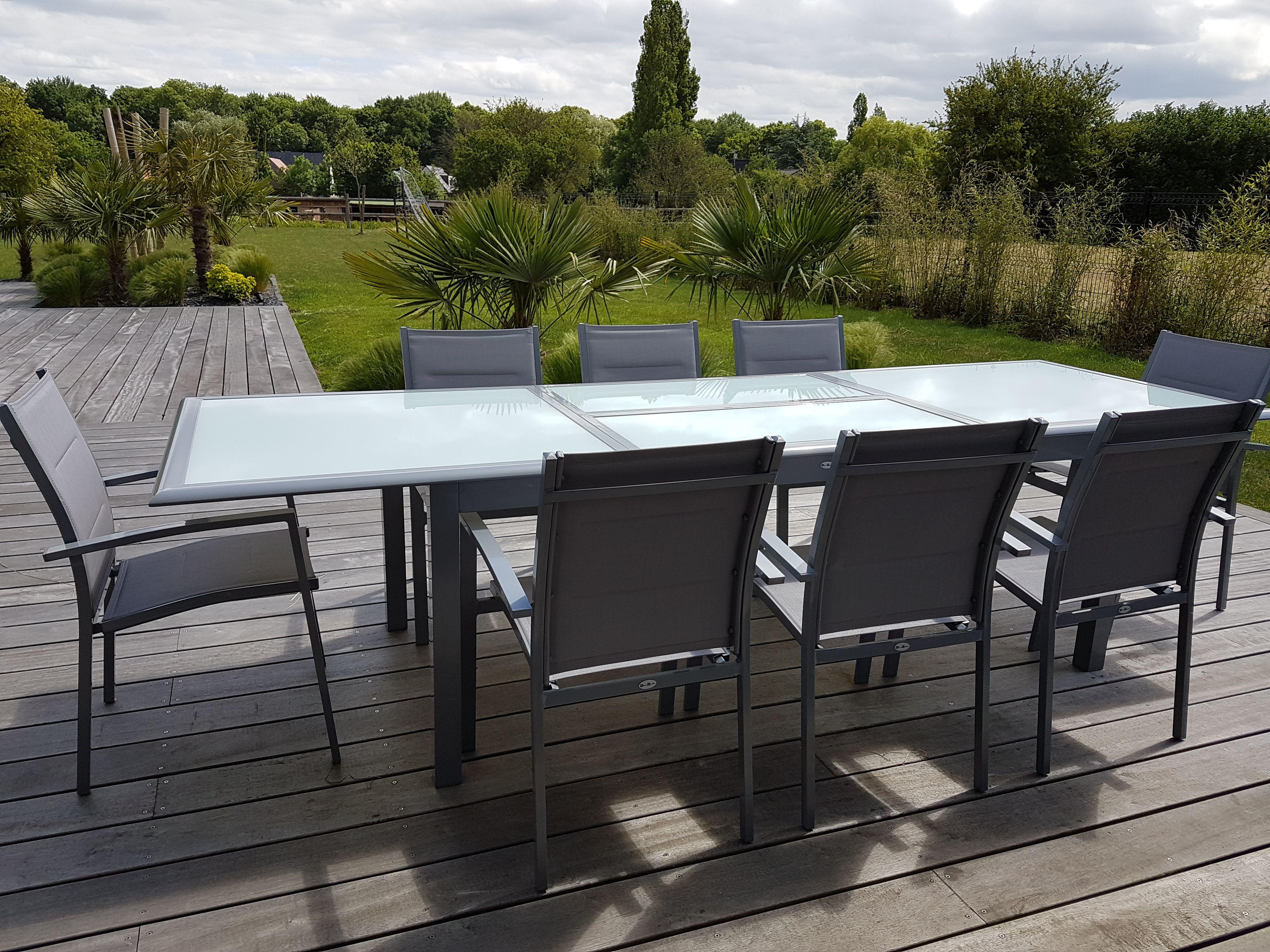 Baltimore : Table de jardin extensible 200/ 300cm en aluminium et 8 ...