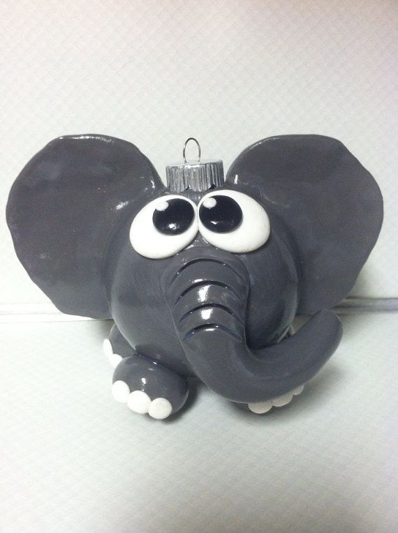 Handmade Polymer Clay Decorated Elephant by Craftsbyahrector, $12.50