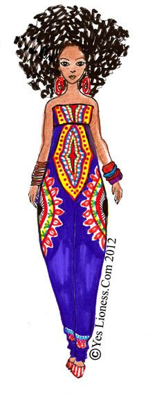 """fashion illustration of african americans   Image of The """"Zebra Diva"""" Print $10.00"""