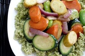 Summer Veggies with Quinoa & Cilantro-Pistachio Pesto