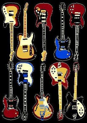 Hard Rock And Roll Guitar Bright Colors Rug For The Home 5x8
