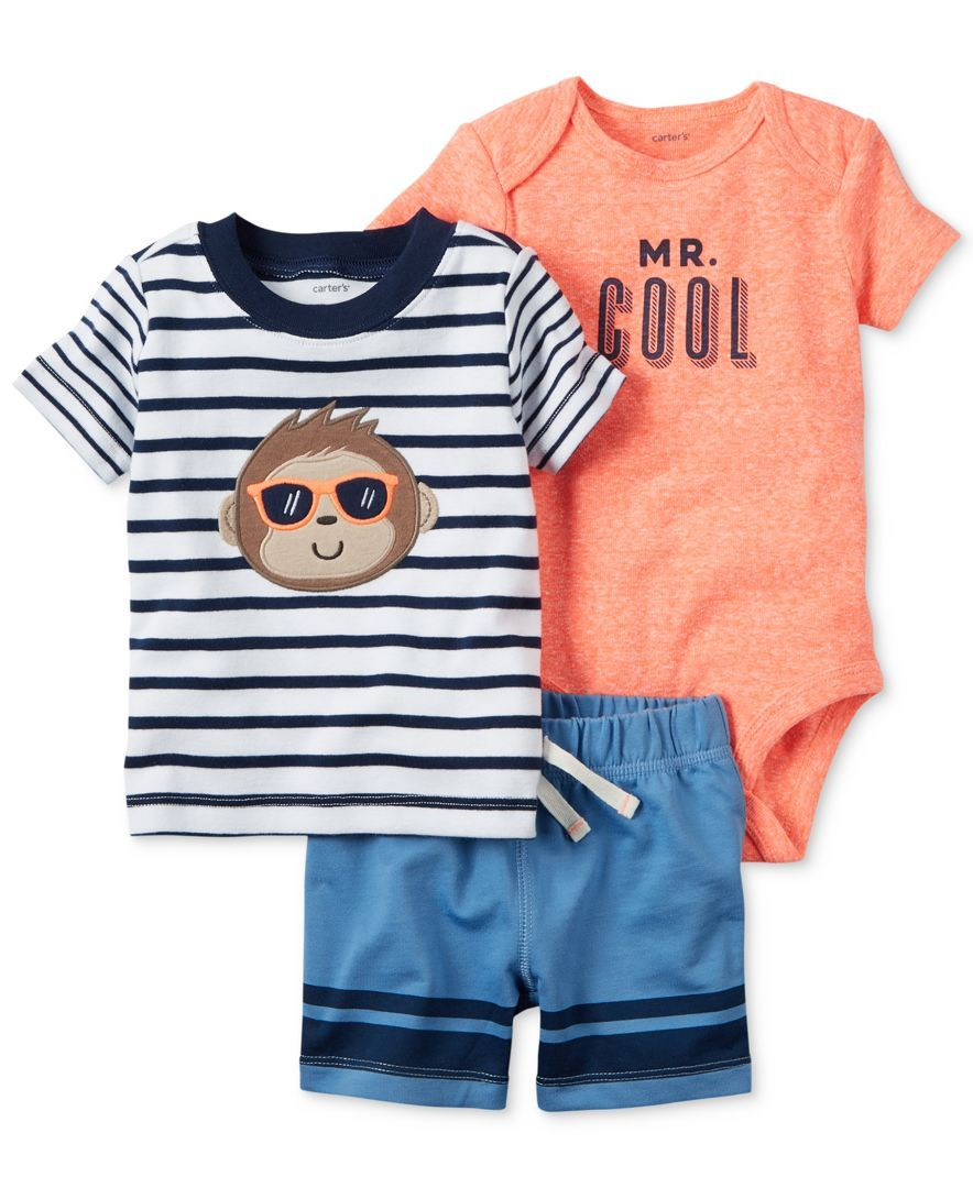 4d7a7324f Carter's 3-Pc. Monkey T-Shirt, Mr. Cool Bodysuit & Shorts Set, Baby ...