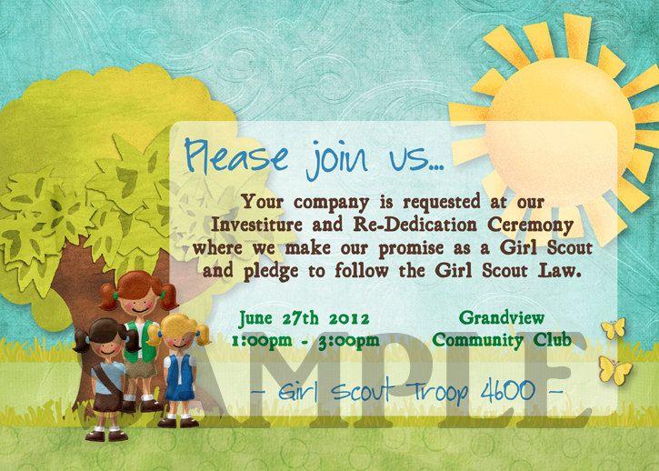 Girl Scouts Investiture Re Dedication Ceremony Invitation