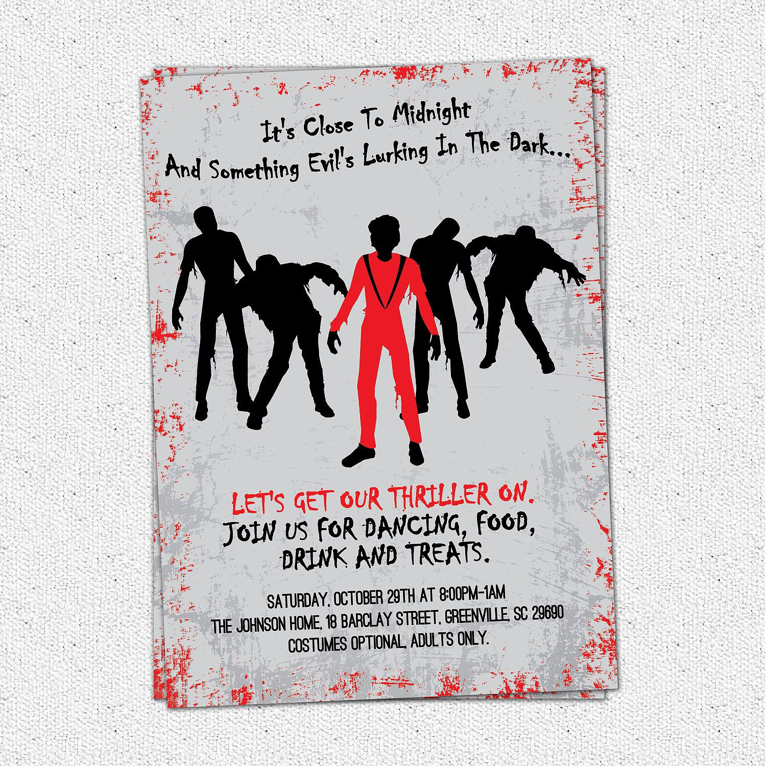 Printable Thriller Halloween, Birthday Invitation, Party, Michael ...