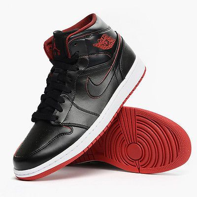 cd097d47c8ce17 Nike Air Jordan 1 Mid Lance Mountain Bred Mens 554724-028 Black Red Shoes S  10.5